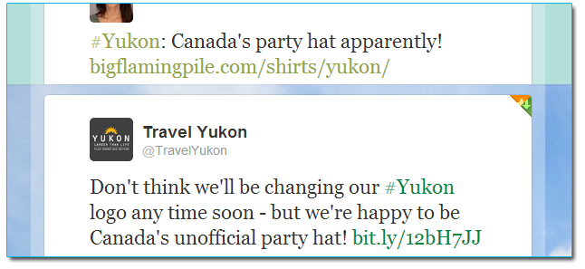 Travel Yukon tweets about our t-shirt